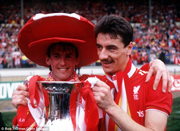 Success: Dalglish and Liverpool team-mate Ian Rush celebrate after winning the FA Cup in 1986