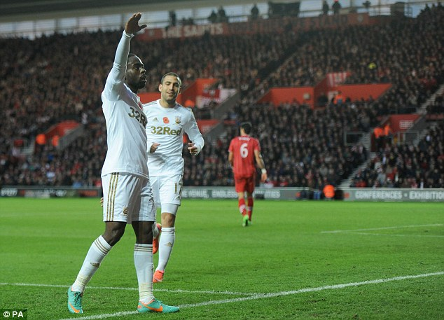 Tied up: Nathan Dyer scored the equaliser for Swansea when the sides met at St Mary's last November