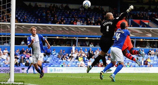 Misjudged: Birmingham City keeper Darren Randolph flapped at Neil Feeney's cross and Danns made it 2-0