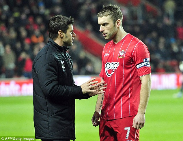 Ambitious: Pochettino, with star striker Rickie Lambert, has designs on Champions League football