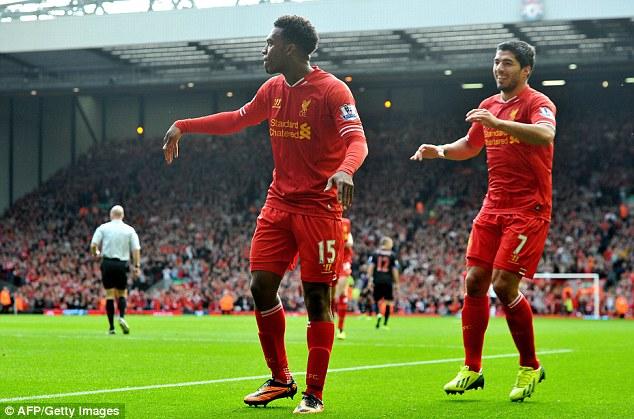 Fearsome duo: Liverpool's Daniel Sturridge, left, celebrates scoring against Crystal Palace with Luis Suarez