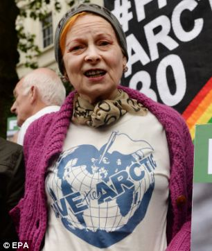 Vivienne Westwood also attended the Greenpeace demonstration outside the Russian Embassy in Kensington Palace Gardens