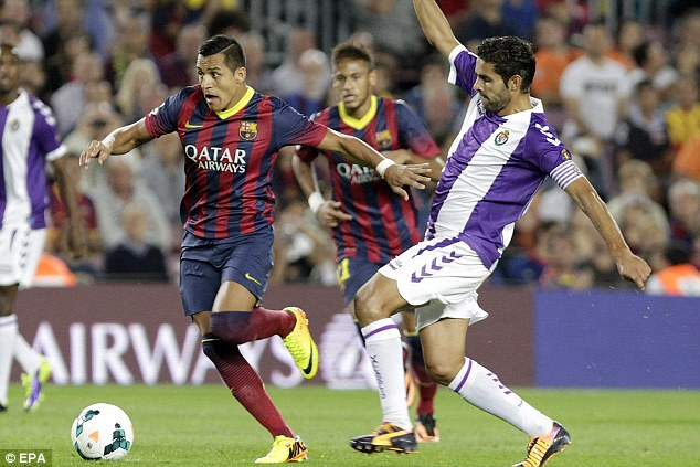 Stepping up: The Chilean scored two and set up another us the Catalan side came from behind