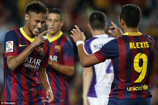 Sanchez (right) and Neymar (left) played alongside each other at La Liga giants Barcelona
