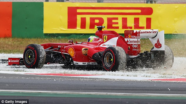 Off the circuit: Felipe Massa spins off at turn three on the first lap