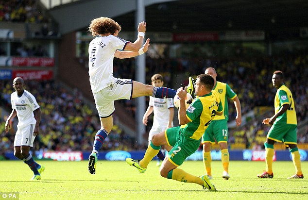 Ouch! David Luiz's boot appears to by flying towards the face of Russell Martin in this dramatic picture