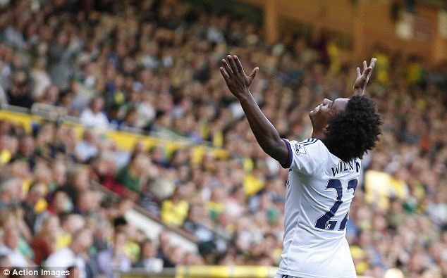 That'll seal it: Willian celebrates scoring a spectacular third for Chelsea in their win at Norwich