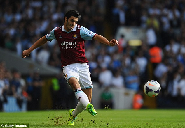 Eyes on the ball: James Tomkins plays the ball out of defence