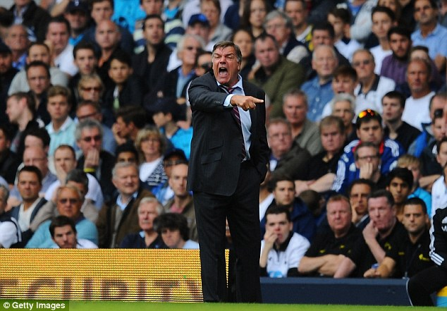 Full of emotion: Sam Allardyce screaming at his troops from the touchline