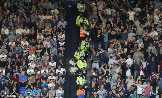 Opposite emotions: West Ham fans got ecstatic next to the Spurs supporters