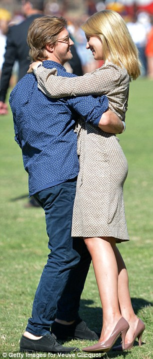 May I have this dance? Dianna Agron and Nick Mathers shared a tender moment in the grass at the Veuve Clicquot Polo Classic in Los Angeles on Saturday