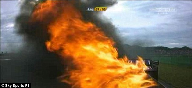 Burning: A view of Webber's car from the on-board camera