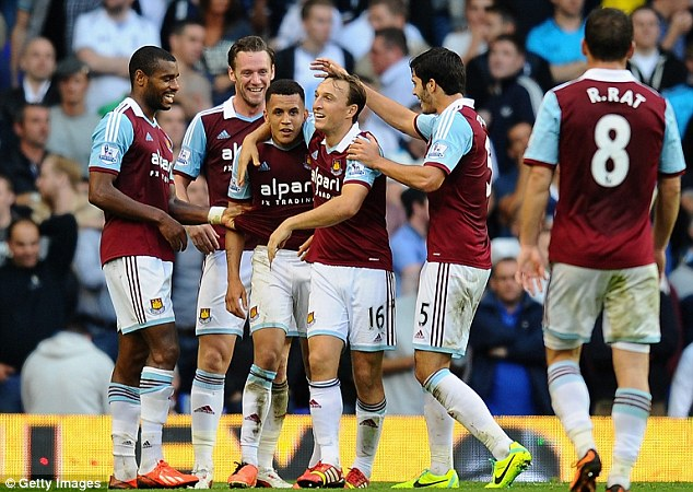 All smiles: West Ham players mob Morrison after his eye-catching goal