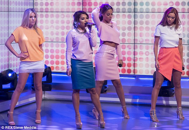 Working it: The Saturdays showed off their incredible figures in outfits of varying tightness as they performed on Daybreak on Monday morning