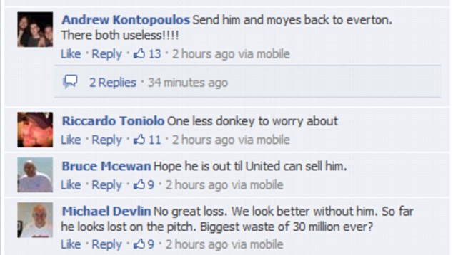 Backlash! Some of the comments left by fans on the Fellaini story