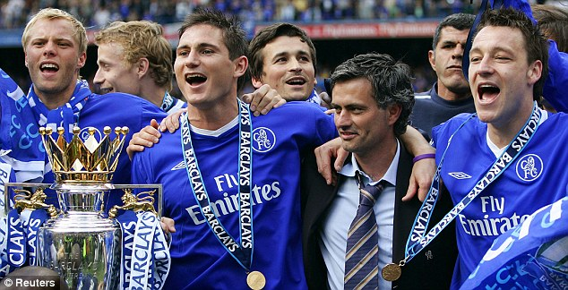 Glory: Mourinho celebrates success with his first Chelsea side, including Frank Lampard and John Terry