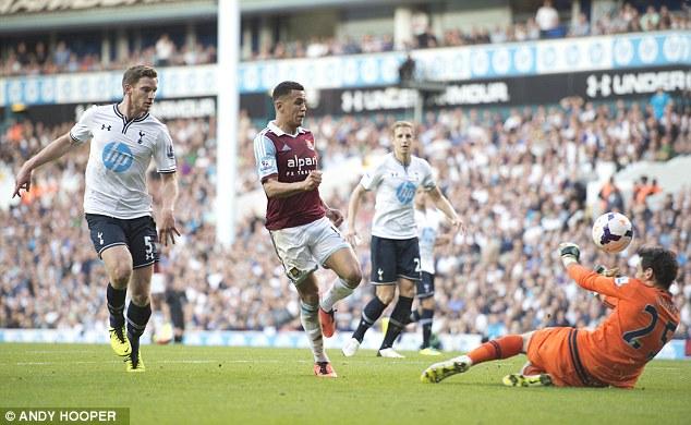 Dink: Morrison finds the net with a little chip over advancing Spurs goalkeeper Hugo Lloris