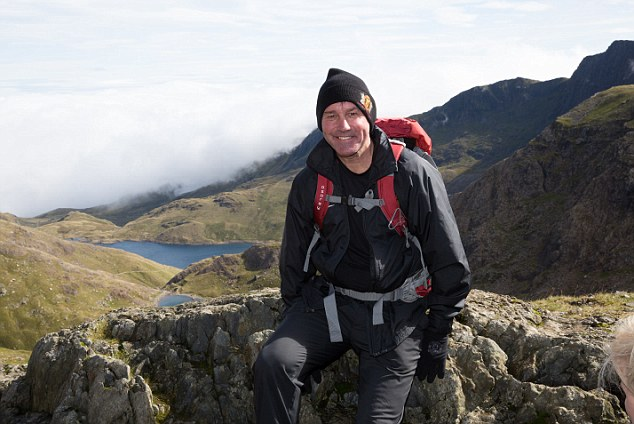 Gearing up: Robson climbs Mount Snowdon in training for his trek up Kilimanjaro
