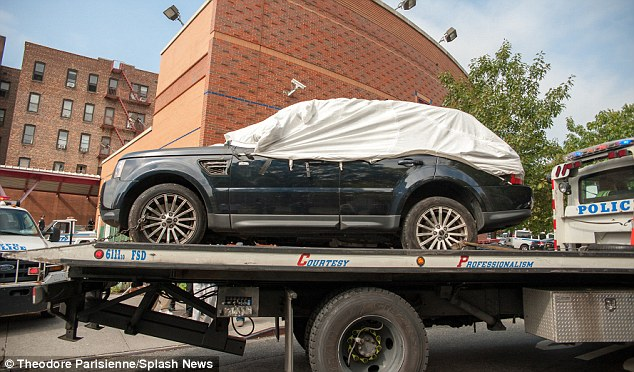Smashed: This is the SUV that Alexian Lien was driving when he was attacked by members of a biker club in New York