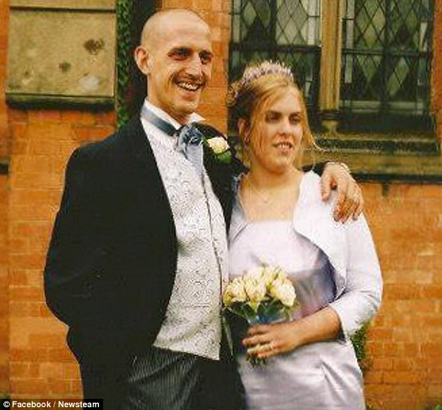 Accused: Welder Alan Evans has denied pushing wife of 12 years Louise, 32, pictured together on their wedding day, down the stairs then smothering her