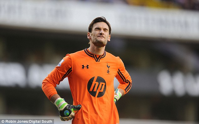French fury: Spurs keeper Hugo Lloris reacts after conceding West Ham's second goal