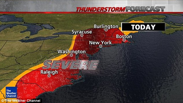 Severe thunderstorm threats include North and South Carolina, Virginia, Maryland, Delaware, Pennsylvania, New Jersey, New York, Connecticut, Vermont, New Hampshire, Maine and Massachusetts