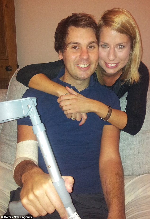 Love-struck: Craig Mitchell proposed to girlfriend Claire Hoyle in intensive care after suffering multiple injuries in a car crash. He was en route to ask Miss Hoyle's father for her hand in marriage