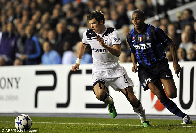 Dominant display: Bale gave Inter Milan's Brazilian defender Maicon a torrid time in the Champions League