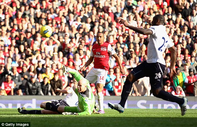 Winding run: Walcott rips the Tottenham defence apart to score in the North London derby