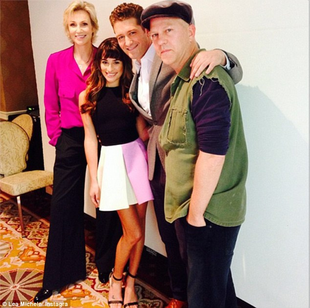 Lean on me: Lea uploaded a picture with Jane, Matthew and Glee creator Ryan Murphy to her Instagram page on Tuesday