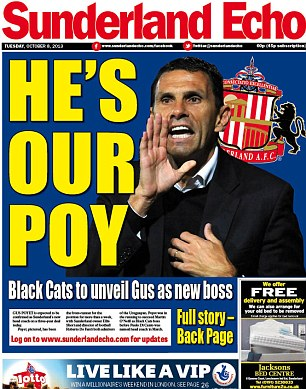 Front page news: The Sunderland Echo splashes on the arrival of Poyet