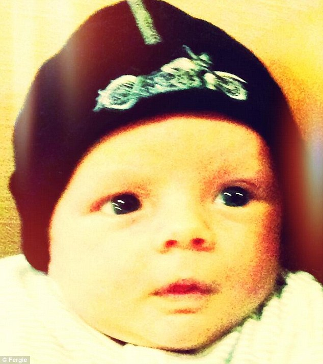 So cute: Last week Fergie posted a picture of her son Axl wearing a Sons Of Anarchy beanie