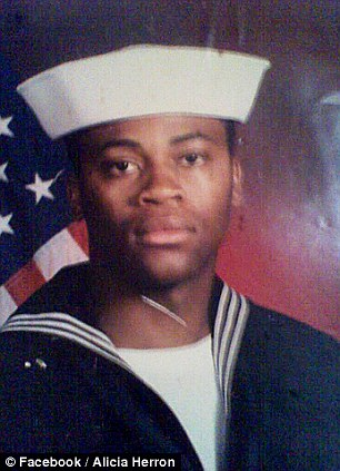 Service: Roberson previously served in the armed forces (left) and was shot dead while his eight-year-old daughter with his fianceé was inside his home
