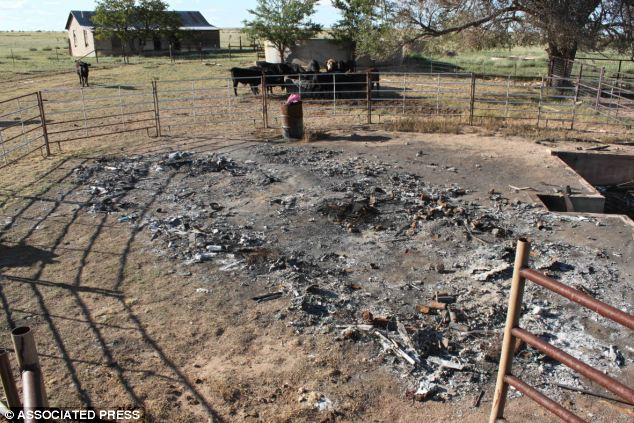 Scene: The remains of the couple's burned-out travel trailer on a remote ranch near Santa Rosa, New Mexico