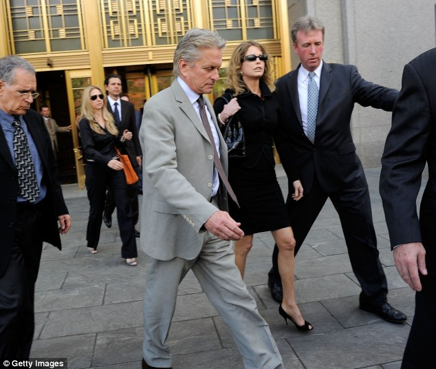 Fighting for their son: Michael Douglas and his ex wife Diandra Luker are seeking help for their incarcerated son Cameron Douglas, pictured in New York in April 2010