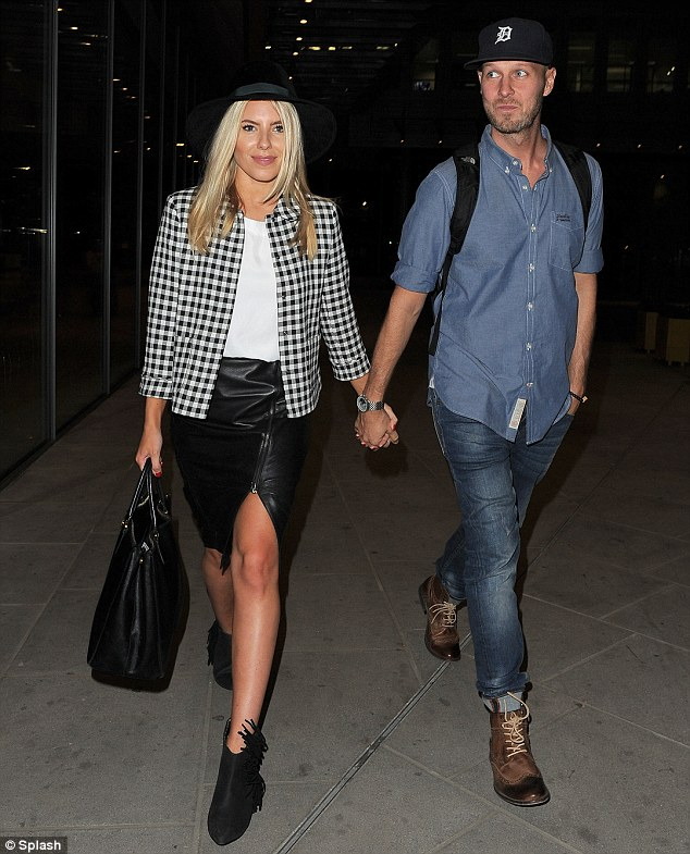 Hand in hand: Mollie King's boyfriend Jordan Omley joined The Saturdays when they did a Google Hangout on Tuesday evening