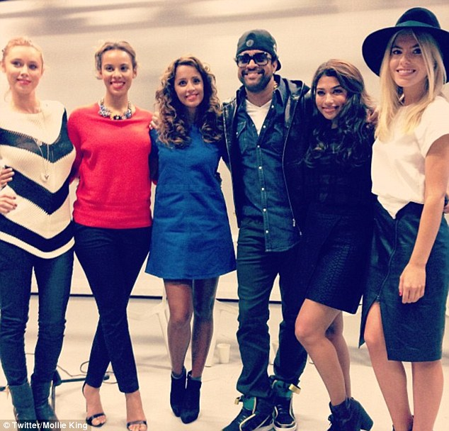 Excited: Mollie shared this picture of the girls hanging out with Shaggy after singing with him much to their excitement