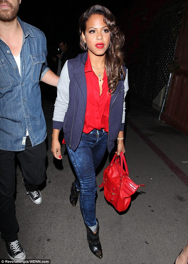 Red hot: Christina Milian was spotted arriving at Create to help her pal celebrate her new single