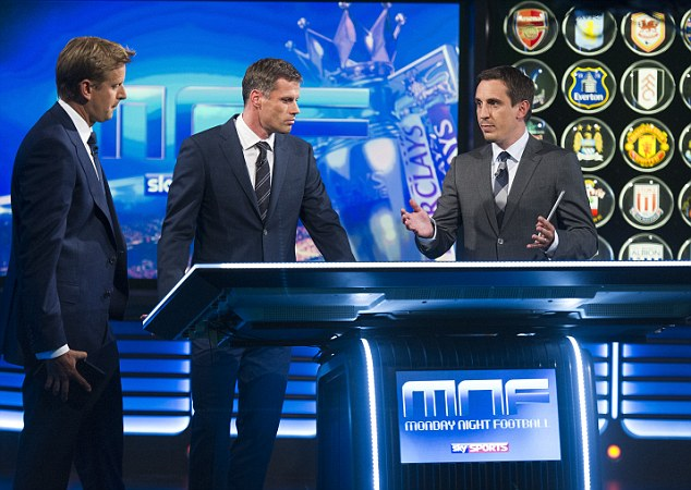 Monday night football: Sky Sports, with their panel of Sportsmail's Jamie Carragher (centre) and Gary Neville (right), will show Arsenal v Chelsea on Monday, December 23