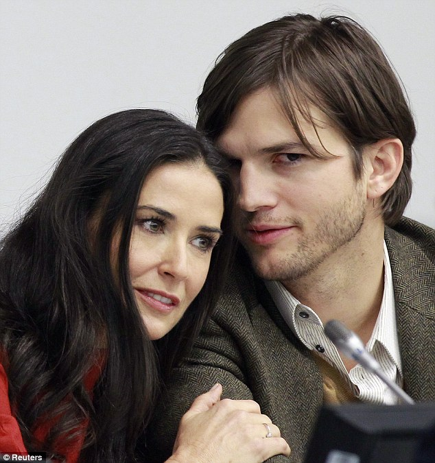 Toy boy: The study found that eight per cent of females have shown their Cougar side and got their claws into a much younger man, like 50-year-old Demi Moore who dated Ashton Kutcher, 35