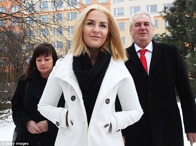 Czech President Milos Zeman, his wife Ivana Zemanova and their daughter Katerina  Zemanova, pictured in January