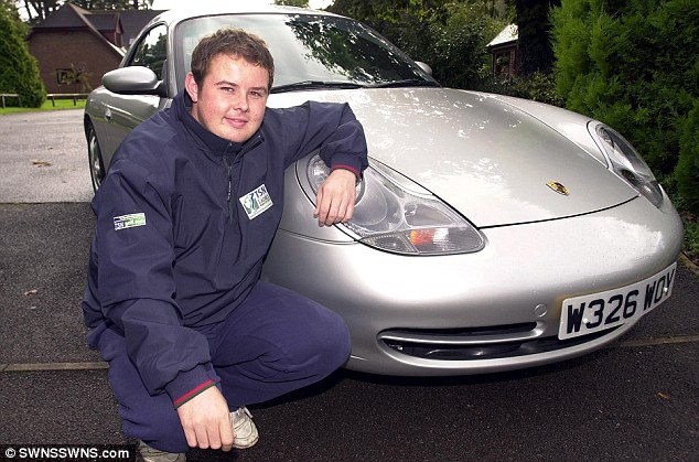 Life in the fast lane: Lee taking delivery of a new Porsche at his Wiltshire home in 2008