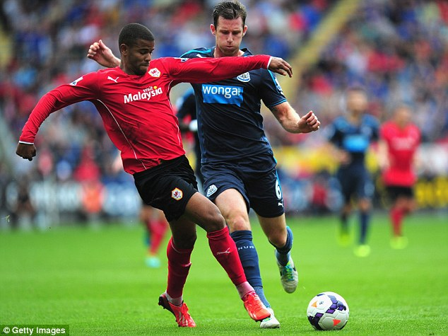 HIT: Newcastle defender Mike Williamson (right) challenges Fraizer Campbell during Cardiff's 2-1 defeat on Saturday
