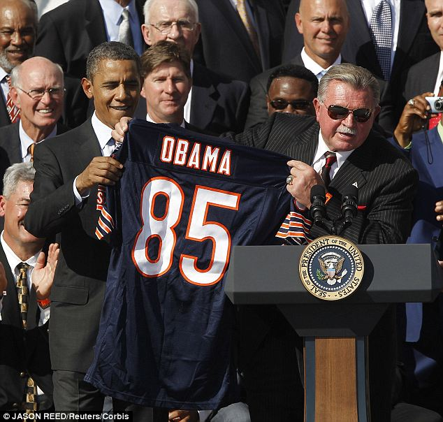 Putting their differences aside: President Obama hosted the 1985 Bears team, which Mike Ditka coached, to the White House in 2011 since they did not get their original ceremony in 1986 due to the Challenger explosion