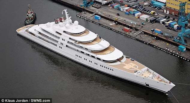The world's largest superyacht Azzam. The £400 million vessel measures a staggering 590ft