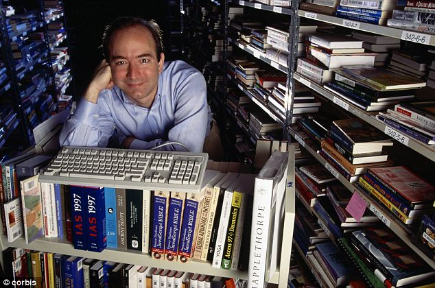 Man with a plan: Amazon started as a book-shipping business that went public in 1997 (Bezos pictured that year)