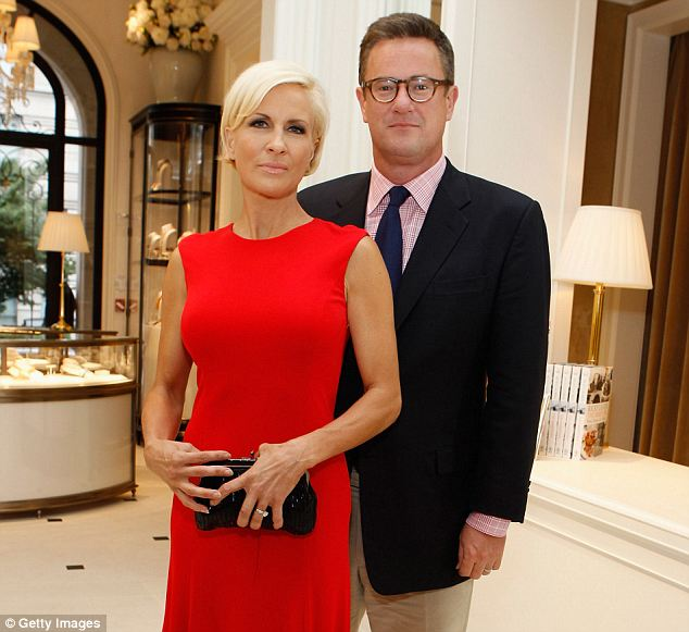 Working partners: Scarborough hosts his MSNBC show Morning Joe alongside Mika Brzezinski (seen here in May 2012)