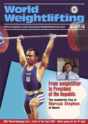 Fame: Stephen on the World Weightlifting magazine portraying his story