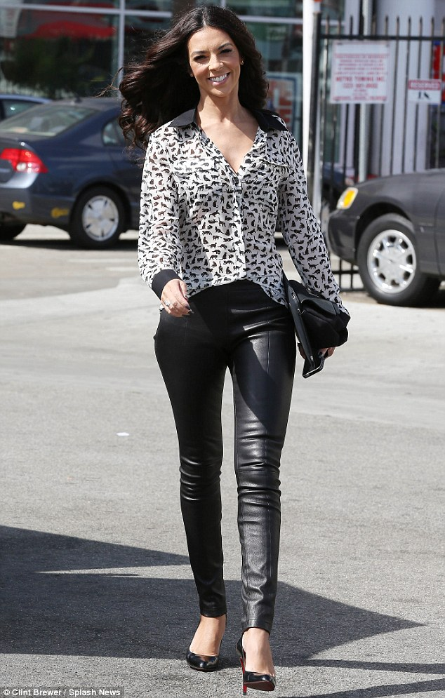British beauty: Terri Seymour looked smoking hot donning a pair of black leather pants while running errands in Los Angeles on Wednesday