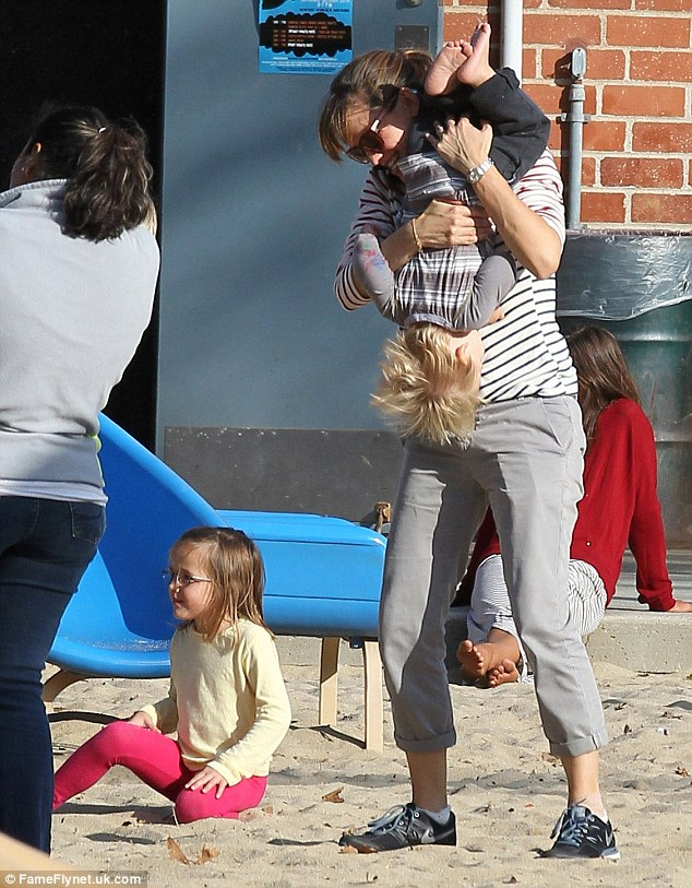 Jennifer Garner lets her hair down with children Violet, Seraphina and Samuel in Pacific Palisades
